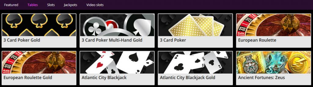 Jackpot city tables games